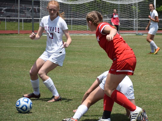 Stuarts Draft's Hannah Chatterton controls the ball against George Mason in their VHSL Group 2A girls soccer championship game on Saturday, June 10, 2017, at Radford University's Cupp Stadium in Radford, Va. The Cougars lost 1-0.