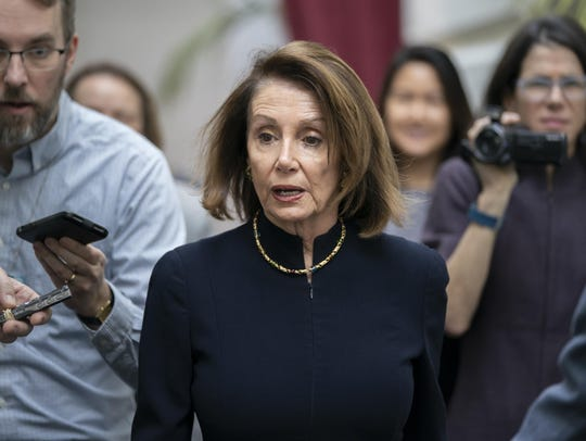 Speaker of the House Nancy Pelosi, D-Calif., walks