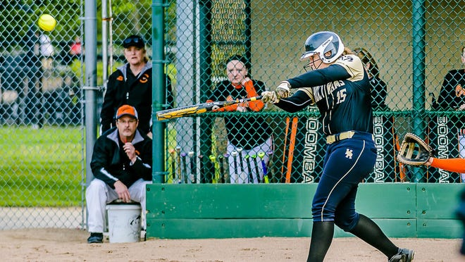 Mackinley Lane of Holt hits a 2 run homer to put the Rams up 2-1 over Morrice in the 2nd inning of their Softball Classic first round game Tuesday May 17, 2016 at Ranney Park in Lansing. KEVIN W. FOWLER PHOTO