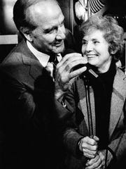 Presidential candidate George McGovern, accompanied by his wife Eleanor, greets a crowd in 1983 as he opened his official campaign headquarters in downtown Des Moines.