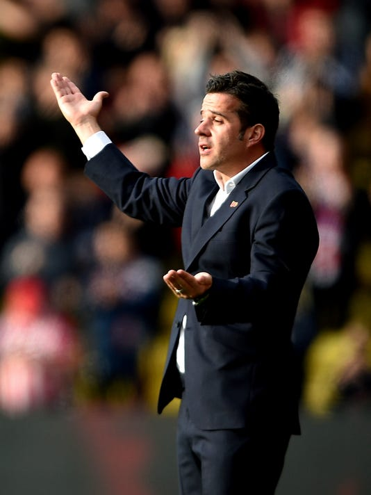 Watford manager Marco Silva reacts after Stoke City's Darren Fletcher scored his side's first goal of the game during their English Premier League soccer match at Vicarage Road in Watford, England, Saturday Oct. 28, 2017.  (Daniel Hambury/PA via AP)