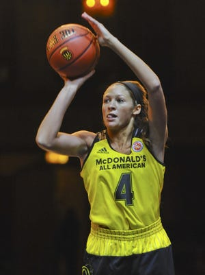 Lindsey Corsaro, from Indianapolis, Indiana, competes in the girls three point contest during the McDonald's All-American Jam Fest, Monday, March 28, 2016, in Chicago. (AP Photo/Matt Marton)