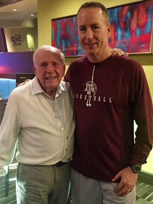 Longtime Nashville resident Gene Stangline, left, got to meet Texas A&M coach Billy Kennedy on Wednesday. Stangline and Kennedy graduated from the same high school in New Orleans.