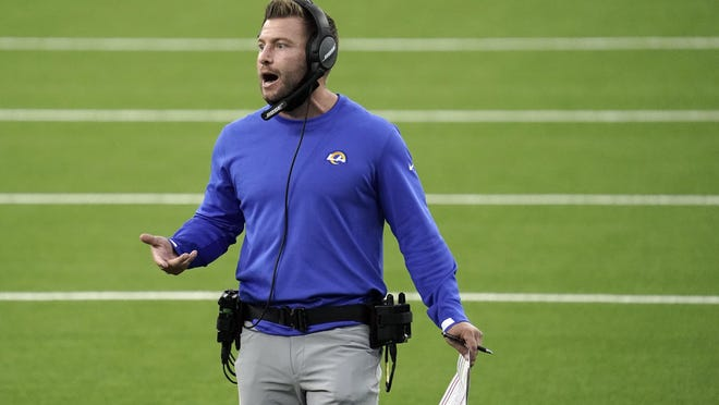 Los Angeles Rams head coach Sean McVay yells out instructions during the first half of an NFL football game against the Dallas Cowboys Sunday, Sept. 13, 2020, in Inglewood, Calif.