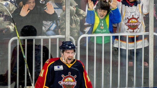 Jordan Ernst of the Rivermen celebrates his second goal of the game against Quad City in the third period Saturday, Nov. 23, 2019 at Carver Arena.
