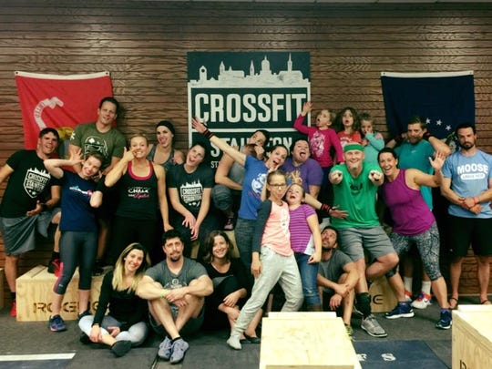 A crazy picture of members of CrossFit Staunton after a workout.