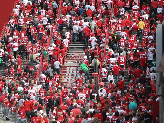 Detroit Red Wings fans enter the last game at Joe Louis