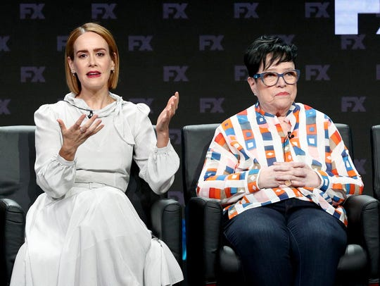 Sarah Paulson and Kathy Bates speak onstage at the
