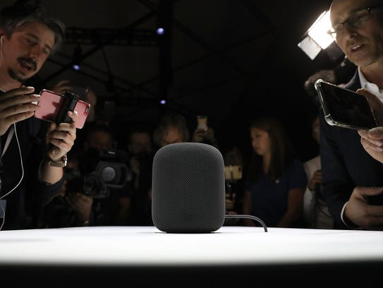 A prototype of Apple's new HomePod is displayed during