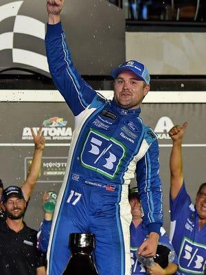 Ricky Stenhouse Jr. celebrates his first victory at Daytona International Speedway.