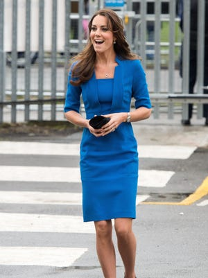 Duchess Kate of Cambridge arrives to open an Art Room studio in a London high school on Feb. 14.
