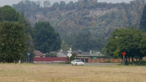 The northwest view from One SAFE Place in Redding shows a scorched hillside as a result of the Carr Fire.