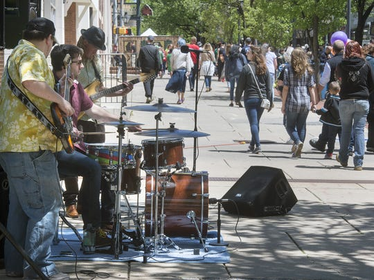Buzzard Luck, a blues and roll band, plays during the 41st Annual Olde York Street Fair in York Sunday May 8, 2016