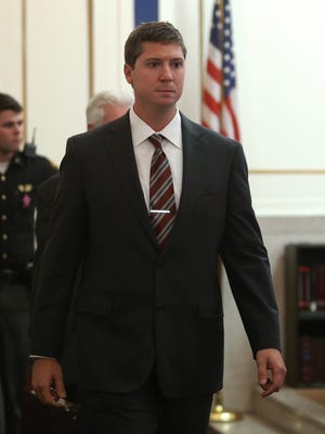 Ray Tensing enters the courtroom for an Oct. 14 pre-trial hearing.