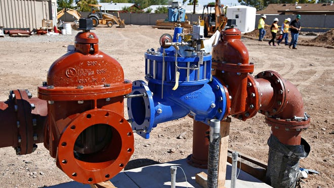 Clay valves and gate valves that will be used by the new well being built by EPCOR Water. The well has a subterranean 250 HP pump that with pull up to 1800 gallons of water per minute. The site is in Youngtown on Sept. 24, 2015.