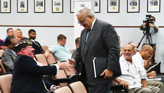 At the Tuesday, July 11 meeting, the Brevard County Board of County Commissioners rejected a resolution by District 3 Commissioner John Tobia requesting that the U.S. Congress refrain from extending statehood to Puerto Rico. Several speakers in favor of statehood addressed the commissioners. Photo shows one of the speakers returning to his seat.