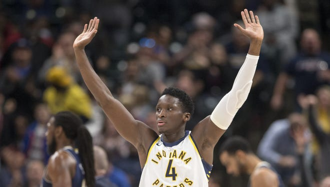 Victor Oladipo, who scored 47 points for Indiana, fires up the crowd after hitting a shot during fourth quarter action, Denver Nuggets at Indiana Pacers, Bankers Life Fieldhouse, Indianapolis, Sunday, Dec. 10, 2017. Indiana won 126-116 in overtime.