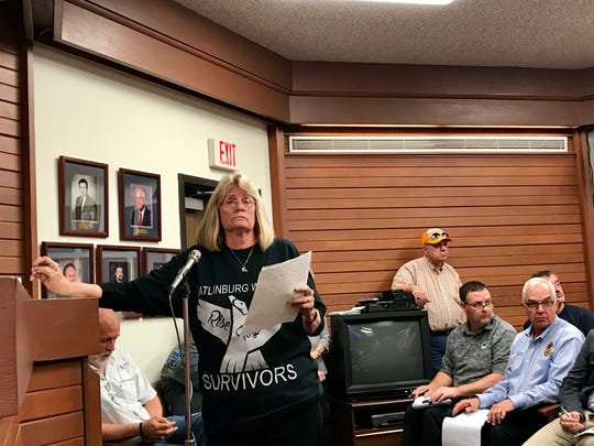 Genie Brabham voices her concerns about the cost of fire damage and evacuation plans before the Gatlinburg City Commission on Tuesday, May 9, 2017.