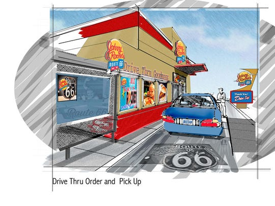 An artist's rendering of a Johnny Rockets Route 66