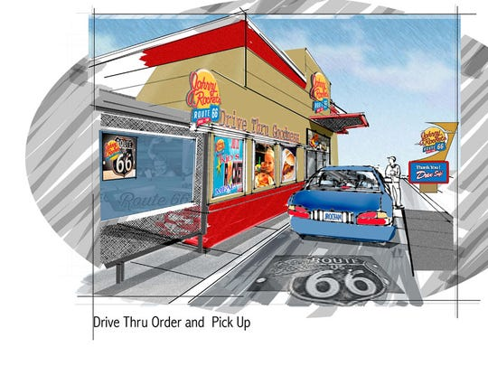 An artist's rendering of a Johnny Rockets Route 66 drive-through restaurant.
