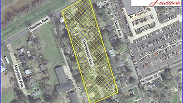 Yellow highlighted area of the map shows the Tennessee Avenue area of Alexandria that is under a water boil advisory.