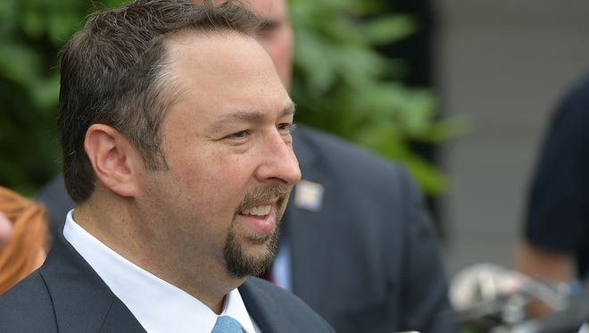 Former Trump campaign spokesman Jason Miller waits for the departure of US President Donald Trump on Marine One from the South Lawn of the White House on June 17, 2017 in Washington, D.C.