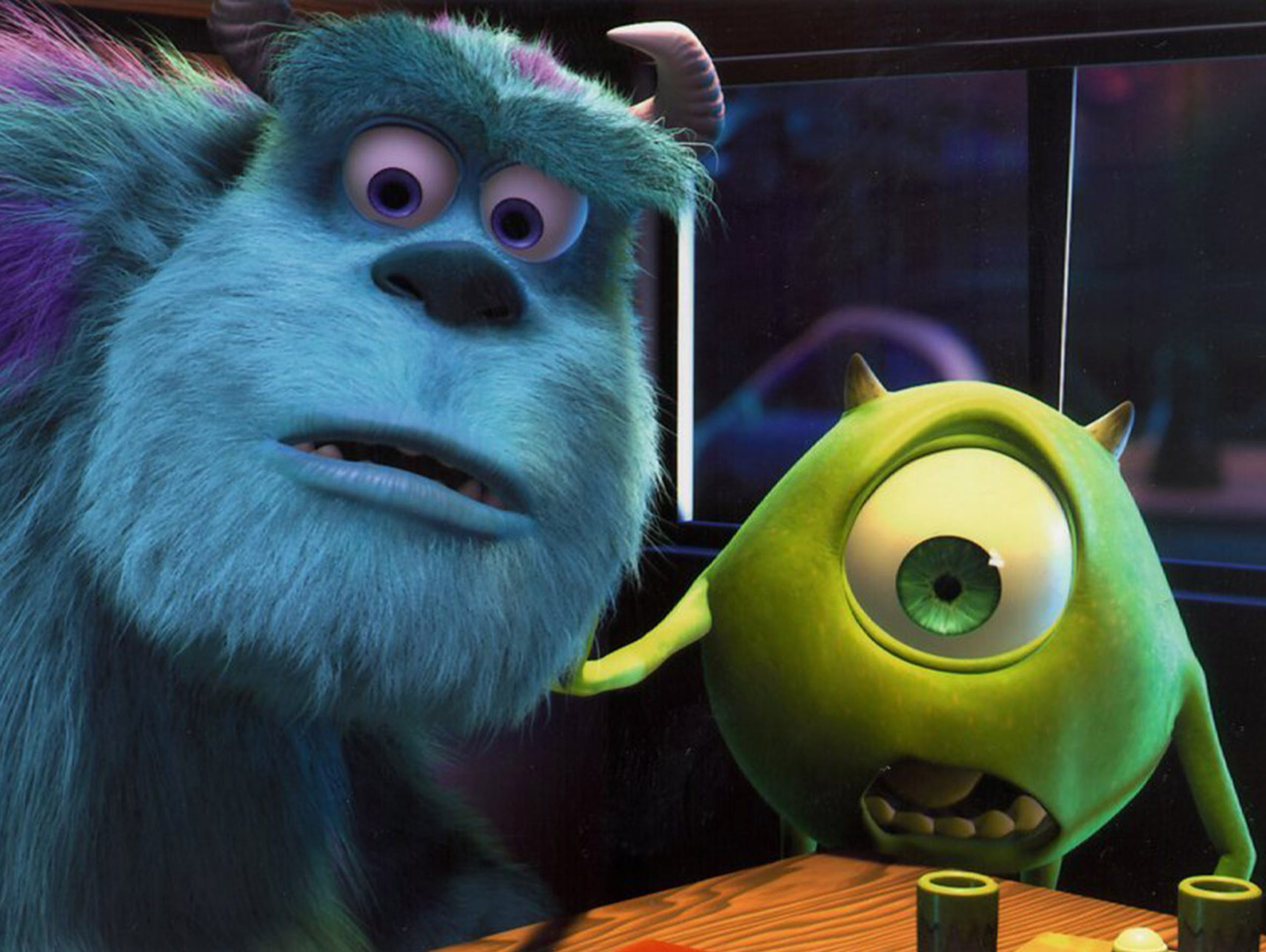 Animated characters Sulley and his scare assistant,