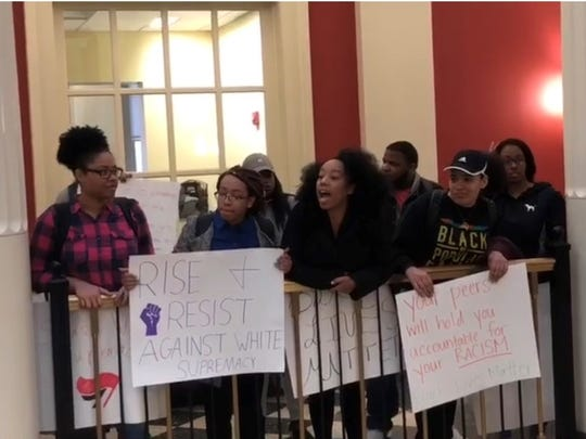 Miami University students and BAM 2.0 organizers protest racism and discrimination on campus in March 2018.