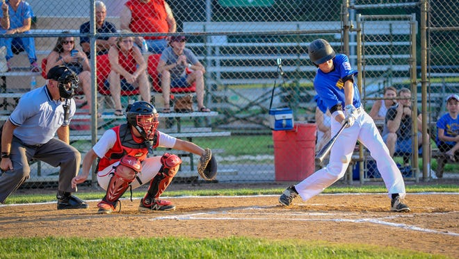 Millsboro's Grant Argo takes a swing during an elimination game against District 1 (Smyrna-Clayton) on Thursday, July 14 at Lower Sussex Little League. District 3 won 1-0.