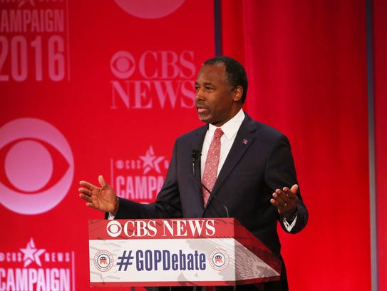 Ben Carson speaks during the CBS News Republican presidential