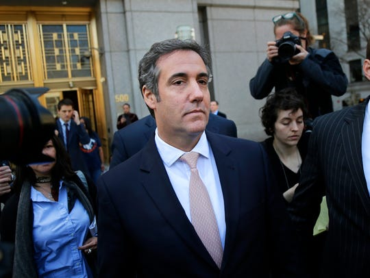, Michael Cohen leaves federal court in New York April 26.