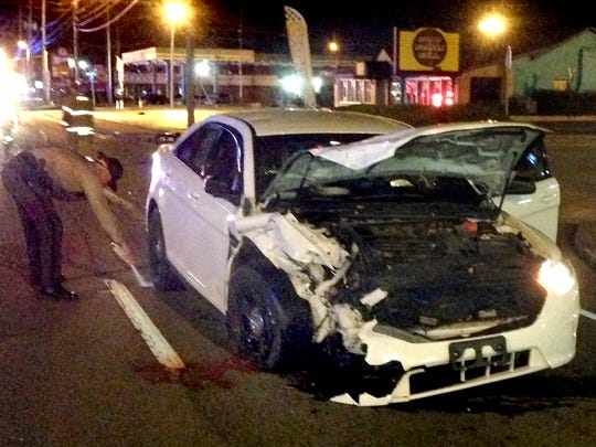 A two-car accident on South Church Street injured three people including a Murfreesboro Police officer, early Sunday morning Nov. 23, 2014.