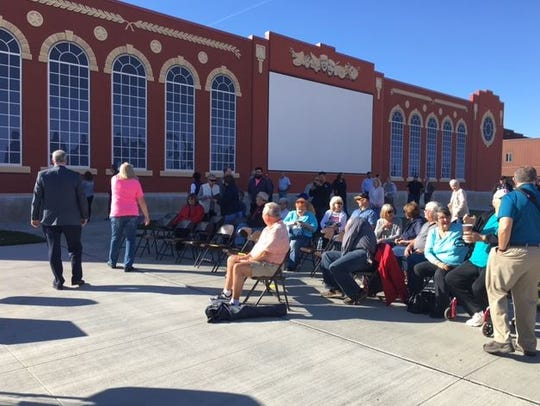 The Schines Art Park in Bucyrus was dedicated Friday at South Sandusky Avenue and Warren Street. People will be able to watch outdoor movies at the park. The lot was formerly home to the Schines Bucyrus Theater.