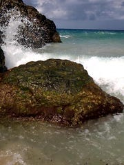 Tedd Wallace, former mayor of South Lyon, Michigan, nearly drowned March 1, 2015, in a riptide while boogie boarding and was pulled near the other side of these rocks while in the U.S Virgin Islands.