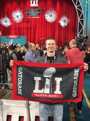 Yorktown graduate Gavin Rogers at Super Bowl Opening