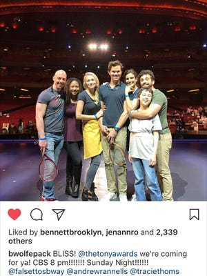 "Betsy Wolfe, third from left, is scheduled to perform a number from ""Falsettos"" during Sunday's telecast of the Tomy Awards on CBS."