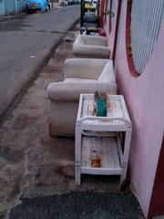 Furniture ruined by floodwaters from Hurricane Maria