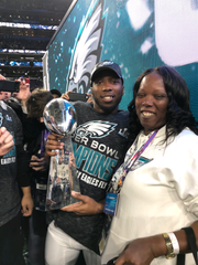 2018: Jaylen Watkins, Philadelphia Eagles: The strong safety played three snaps on defense and 17 on special teams and Watkins was in the end zone and helped bat down the final pass to clinch the Eagles' 41-33 win. Watkins and his mom, Brandy Peterson, celebrate on the field in Minneapolis after the Philadelphia Eagles won Super Bowl LII.
