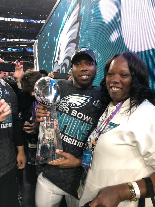Jaylen Watkins and his mom