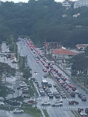 Heavy traffic heading towards Sinajana near Agana Shopping Center due to a car crash on May 15, 2018.