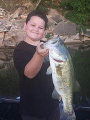 12-year-old Lee Harmon Kirk caught a 5-pound bass on the Alabama River on July 3.