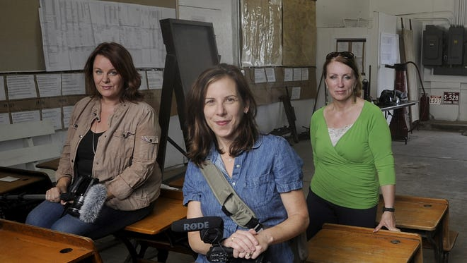 """Documentary co-directors Kelly Nathe, left, and Nora Shapiro, center, pose in in 2014 in Holdingford with Elaine Davis, author of the book that inspired """"Minnesota 13: From Grain to Glass."""" Davis died last summer."""