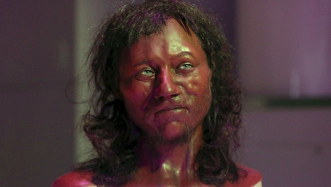 A reconstruction of a head based on the skull of Britain's oldest complete skeleton, known as Cheddar Man.