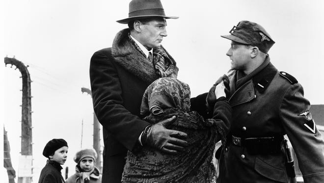 "Actor Liam Neeson portrayed Oskar Schindler in the 1993 movie ""Schindler's List."" Here, Neeson is telling a German commandant that he needs children in his factory because their fingers are small and they can reach into hard-to-access machinery."