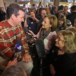 U.S. Sen. Ted Cruz, R-Texas, talks with supporters and reporters after appearing with Texas Senate District 10 candidate Konni Burton at the Take Back SD 10 Rally on March 19 in Fort Worth, Texas.
