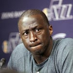 In this file photo, Utah Jazz coach Tyrone Corbin speaks to reporters on the day the Jazz cleaned out their lockers after a 25-57 season in Salt Lake City. The Jazz announced Monday that the team won't be offering Corbin a new contract.
