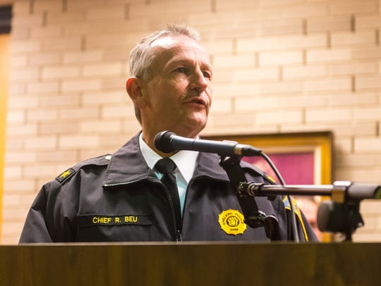 Vineland Police Chief Rudy Beu speaks at the promotion ceremony for Captain Lene Bowers and Lieutenant Thomas Riordan at Vineland City Hall on Tuesday, January 16.