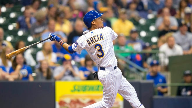 Brewers shortstop Orlando Arcia hit a home run during the sixth inning against the Pittsburgh Pirates at Miller Park on Friday night.