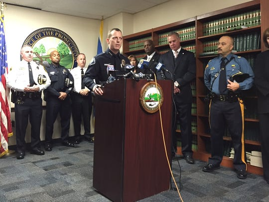 Camden County Police Chief Scott Thomson speaks at press conference announcing 40 arrests in connection with a wide-ranging drug network.