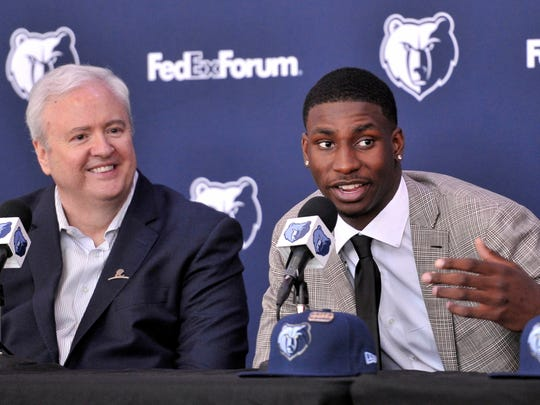 Memphis Grizzlies draft pick Jaren Jackson Jr. answers question during a press conference at FedEX Forum.